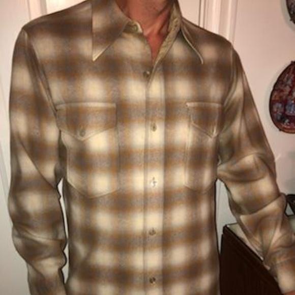Vintage 70s PENDLETON Wool Snap Button Western Shirt sz M BGR1o3zMzt